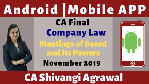 CA Final Meetings of Board and its Powers N19 | Mobile App cover
