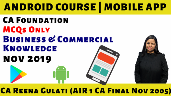 MCQs CA Foundation Business & Commercial Knowledge N19 | Mobile App cover
